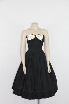 1950s Strapless Dress  Black Cotton with by VintageFrocksOfFancy, $180.00
