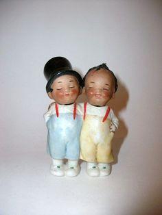 Antique Bisque Pair of Nodder Dolls, Brown Skinned Boy & Girl - Cheeky! - #E1