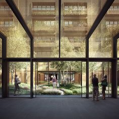 """""""The building has intricate bronzed metalwork. Cast bronzed screens on the ground floor control views, light and privacy. A bonus is that all façades are designed to high thermal and acoustic performance. Architecture Visualization, 3d Visualization, Forbes Massie, Arcology, Interior Rendering, Hostel, Cgi, Ground Floor, Great Places"""