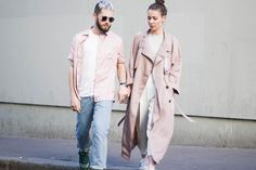 J'aime tout chez toi - French couple from Paris - Alice & js Twin Outfits, Couple Outfits, Matching Outfits, French Fashion, Pink Fashion, Womens Fashion, Street Looks, Street Style, Cute Couples