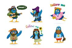 6 Woodstock Twitter Birds Icons Set - http://www.dawnbrushes.com/6-woodstock-twitter-birds-icons-set/