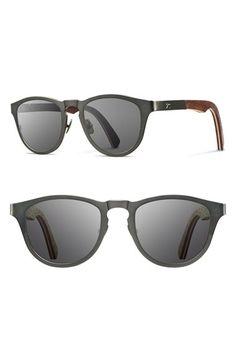 Men's Shwood 'Francis' 49mm Titanium & Wood Sunglasses - Gunmetal/ Walnut