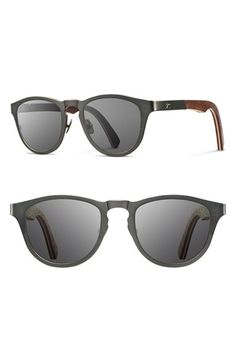 Men's Shwood 'Francis' 49mm Titanium & Wood Sunglasses - Gunmetal/ Walnut