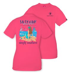 "Simply Southern Salty Hair Don't Care - Mermaid T-Shirt by Simply Southern Collection. This is the t-shirt for any girl who is a mermaid at heart! Front Design: Navy Blue Simply Southern Logo with turtle Back Design: Beach scene with a mermaid and sailboats in the water. ""Salty Hair Don't Care"" and ""Do What You Love, Love What You Do"" text in Navy. Colors: Pink & Navy Blue Unisex Sizing 100% Cotton (Not Pre-Shrunk)"