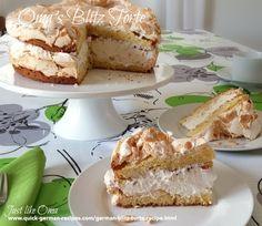 Oma's German Blitz Torte http://www.quick-german-recipes.com/german-blitz-torte-recipe.html is a 'lightning-fast' cake to make.