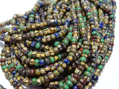 Czech Glass  8/0 Aged Striped Opaque Picasso Seed Bead Mix  6 Strands Hank on Etsy, $5.99