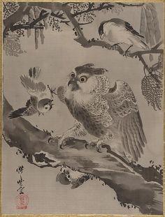 Kawanabe Kyōsai | Owl Mocked by Small Birds, Meiji period (1868–1912) |