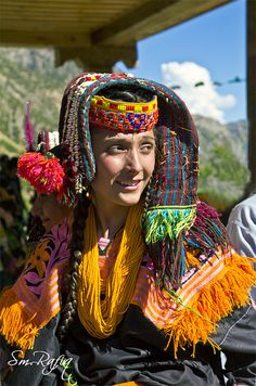 A Kalash woman at the Cheelim Jusht Festival (spring festival), Pakistan. The Kalasha or Kalash, are a Dardic indigenous people residing in the Chitral District of Khyber-Pakhtunkhwa province of Pakistan. They speak the Kalasha language, from the Dardic family of the Indo-Aryan branch, and are considered a unique tribe among the Indo-Aryan peoples of Pakistan. (V)
