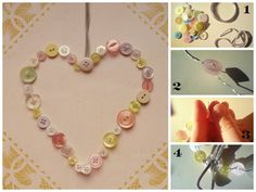 Button Heart Decoration- perfect for weddings, anniversaries or brightening up a new nursery!  Visit http://peabodyandthrift.blogspot.co.uk/2014/05/button-heart-decoration.html for the tutorial