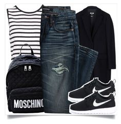 """School Style"" by madeinmalaysia ❤ liked on Polyvore featuring MSGM, Moschino, Canvas by Lands' End and NIKE"