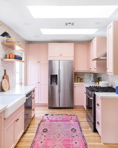 Eclectic Kitchen by Semihandmade using DIY shaker doors and custom oak floating shelves - Kitchen Ideas Eclectic Kitchen, Kitchen Interior, New Kitchen, Kitchen Design, Kitchen Ideas, Kitchen Small, Rustic Kitchen, Pink Kitchen Cupboards, Kitchen Colors