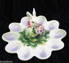 Corner Ruby Collection Pansy Bunny Deviled Egg Serving Dish Plate Platter New | eBay