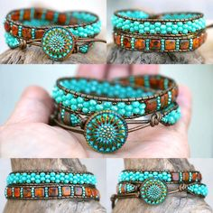 New leather wrap bracelets are coming. Been getting requests for more. Listing s. - New leather wrap bracelets are coming. Been getting requests for more. Listing soon. Diy Leather Bracelet, Beaded Wrap Bracelets, Leather Jewelry, Metal Jewelry, Jewelry Necklaces, Crochet Bracelet, Cuff Bracelets, Beaded Leather Wraps, Leather Cord