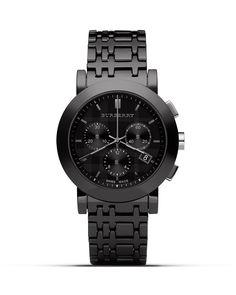 Burberry Black 3 Eye Watch with Ceramic Bracelet, 40mm | Bloomingdale's