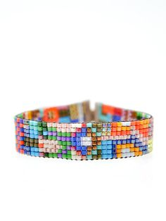 Thin Beaded Bracelet in Havana