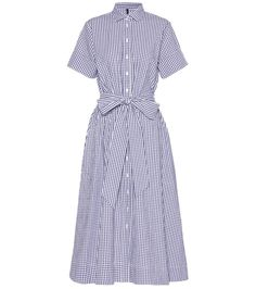 Lisa Marie Fernandez - Gingham cotton shirt dress - Lisa Marie Fernandez's shirt dress is oh-so refined and feminine with its attached self-tie belt and gingham cotton fabrication. The shirt-style top is balanced with a full skirt for a ladylike look. Wear yours with kitten-heel pumps for a refined style in the daytime. seen @ www.mytheresa.com