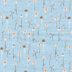Heather Ross  Far Far Away 3 Kokka Fabric Wildflowers Fabric in Blue - 1/2 Yard