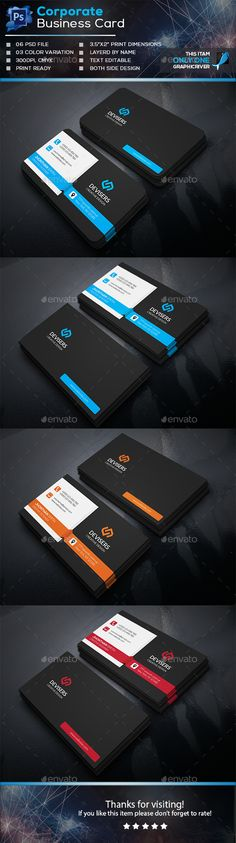 Corporate Business Card Template PSD #design Download: http://graphicriver.net/item/corporate-business-card/13889198?ref=ksioks