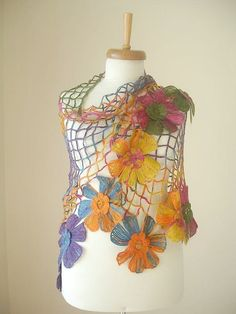 Triangle Shawl By Crochetlab, Multicolor, Big Flowers, Perfect for all Seasons…