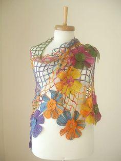 Triangle Shawl By Crochetlab, Multicolor, Big Flowers, Perfect for all Seasons…