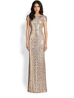 """Badgley Mischka Sequin Cowl-Back Gown  Offering breathtaking radiance, a gilded-sequin gown with a slinky fit and gracefully draped back.  -Bateau neck -Short sleeves -Side zip closure -Cowl-back design -Lined -About 48"""" from natural waist -Nylon  Gorgeous! - rafa"""