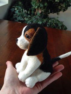 Needle Felted  Animal miniature Beagle Felted by Made4ubyJackie