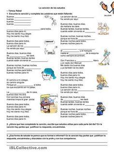 LA CANCIÓN DE LOS SALUDOS - TERESA RABAL Spanish Worksheets, Spanish Activities, Teaching Spanish, Nelly Furtado, Spanish Lesson Plans, Spanish Lessons, Ap Spanish, Spanish Class, Free Education