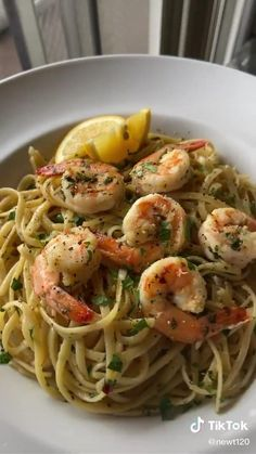 Linguine Recipes, Shrimp Recipes, Pasta Recipes, Dinner Recipes, Cooking Recipes, Healthy Recipes, Healthy Food, Dinner Healthy, Tasty Videos