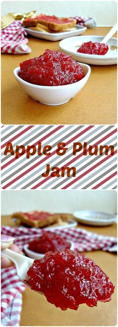 Jam is probably the best way of preserving the goodness of fruits and what better than a homemade jam, without preservatives. This homemade apple and plum jam is very easy to make and gets ready with few ingredients. Plum Jelly, Jam And Jelly, Plum Jam Recipes, Jelly Recipes, Apple Jam, Fruit Jam, Canning Recipes, Microwave, Vegetarian
