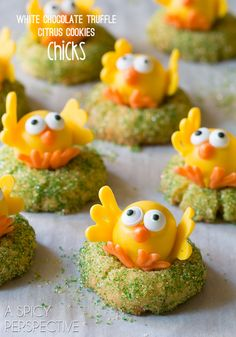 Adorable White Chocolate Citrus Chick Cookies (with a truffle in the middle!)