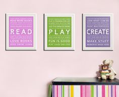 Childrens art for kids. Inspiration Typography Prints- Playroom decor set. READ, PLAY, CREATE. Kids wall art. 3 8x10 Quote prints by WallFry #EasyPin