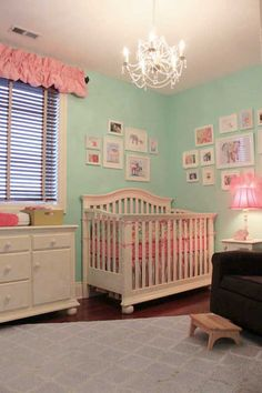 Love the mint and pink with the chandelier. It's very girly in a good way.