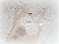 Baby Girls Vintage Inspiried Singlet Tshirt Top Lace & Crochet