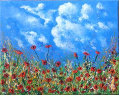 Poppies! Acrylic on canvas. See more at https://www.artfinder.com/tina-hiles