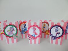 Equestria girls...My little pony.. Inspired Popcorn box Party Favors..Goodie bags. Candy box ..SET OF 10
