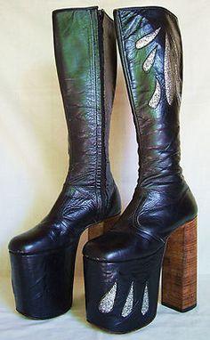 Vintage 1970's KISS Style Tall Platform Boots Estimated sz. 8