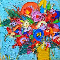 Abstract Painting - Abstract Flowers Floral Miniature Modern Impressionist Palette Knife Oil Painting Ana Maria Edulescu by Ana Maria Edulescu