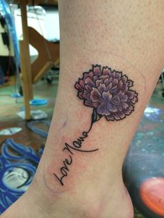 carnation tattoo - blue and no words on the stem