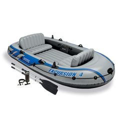 Intex Excursion 4 Person Inflatable Boat Set Aluminum Oars And Output Air Pump #Intex