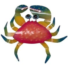 Design offers unique decorative art conceived & designed in Florida. A colorful finish makes this crab shimmer! Made from metal, this coastal crab adds a splash or color to your outdoor décor. Crab wall decor measures 11 x 10 x inches. Painted Wood Walls, Wooden Wall Art, Metal Wall Art, Tropical Bathroom Decor, Bathroom Red, Red Bathrooms, Bathroom Ideas, Kitchen Wall Art, Wall Art Decor