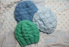Textured Baby Hats - Little Check, King Charles Brocade, and English Diamond Block {Free Patterns}