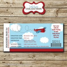 Airplane Ticket Invitation baby shower by designingforpeanuts