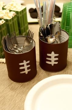 Utensil holder for a Superbowl Party or tailgate