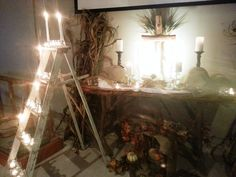 Contemporary Worship Space - altar for All Saints Day. Vintage ladder with candle to symbolize ascent reaching to heaven - candles for congregation to light in remembrance. Altar Design, Church Design, Vintage Ladder, All Saints Day, Altar Decorations, Liturgical Seasons, High Point, Display Banners, All Souls Day