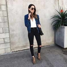 Thrifts and Threads | LA Style Blogger | White top+black ripped jeans+leopard print boots+denim bomer+black shoulder bag+sunglasses. Spring outfit 2016