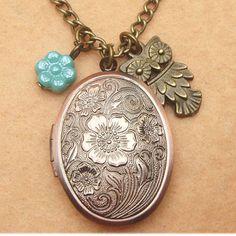 Owl Flower Locket and Czech Glass Necklace