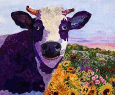 """This is the purple cow quilt I finished after taking Susan Carlson's """"cutting loose"""" class at Empty Spools."""