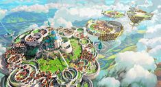 Floating castle, seunghee lee on ArtStation at https://www.artstation.com/artwork/DqGxO