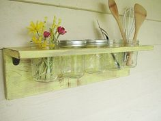 Rustic wood shelf, distressed shabby chic, Yellow, cottage beach home decor, wall shelves. $48.00, via Etsy.