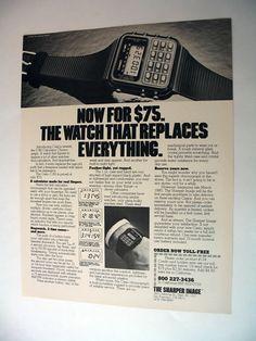 SHARPER IMAGE Casio C-80 Calculator Watch 1980 print Ad